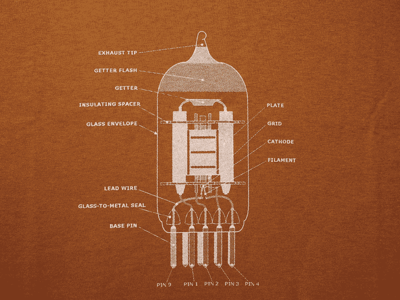 T-Shirt - Rust with 12AX7 Tube Diagram