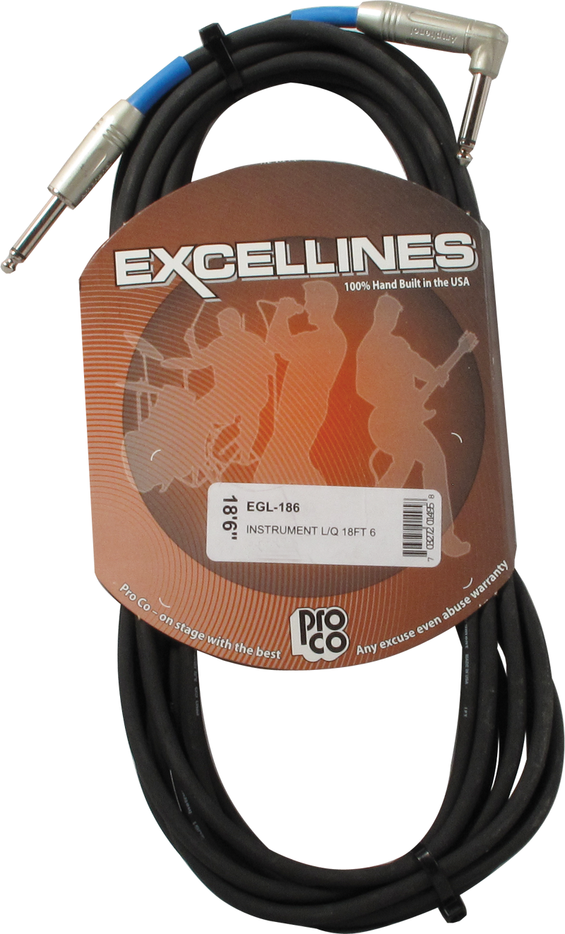 Cable - ProCo Excellines, 18.5', 1 Straight, 1 Right Angle End