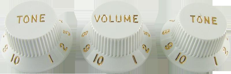 Knobs - Fender®, Stratocaster, 1 Volume, 2 Tone