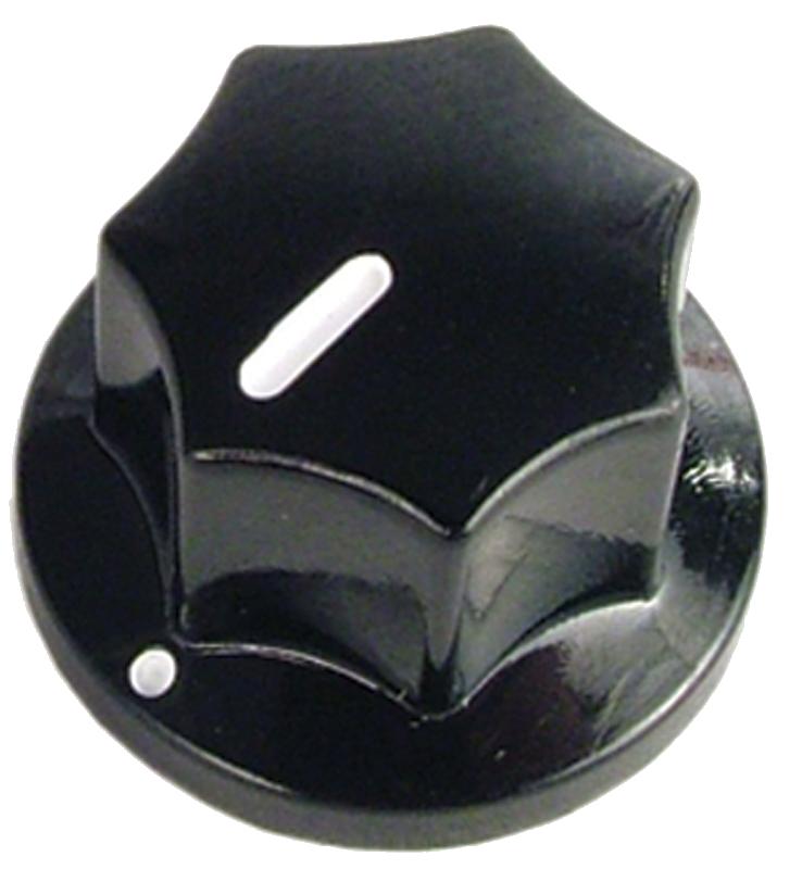 """Knob - Black, Line, Set Screw, .75"""" diameter x .50"""" tall"""